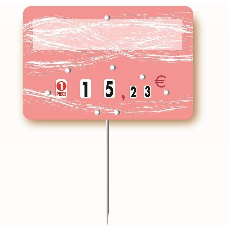 Etiquette à roulettes pique-inox option disc-info 'TURBULENCE' 10,5x7cm par 10
