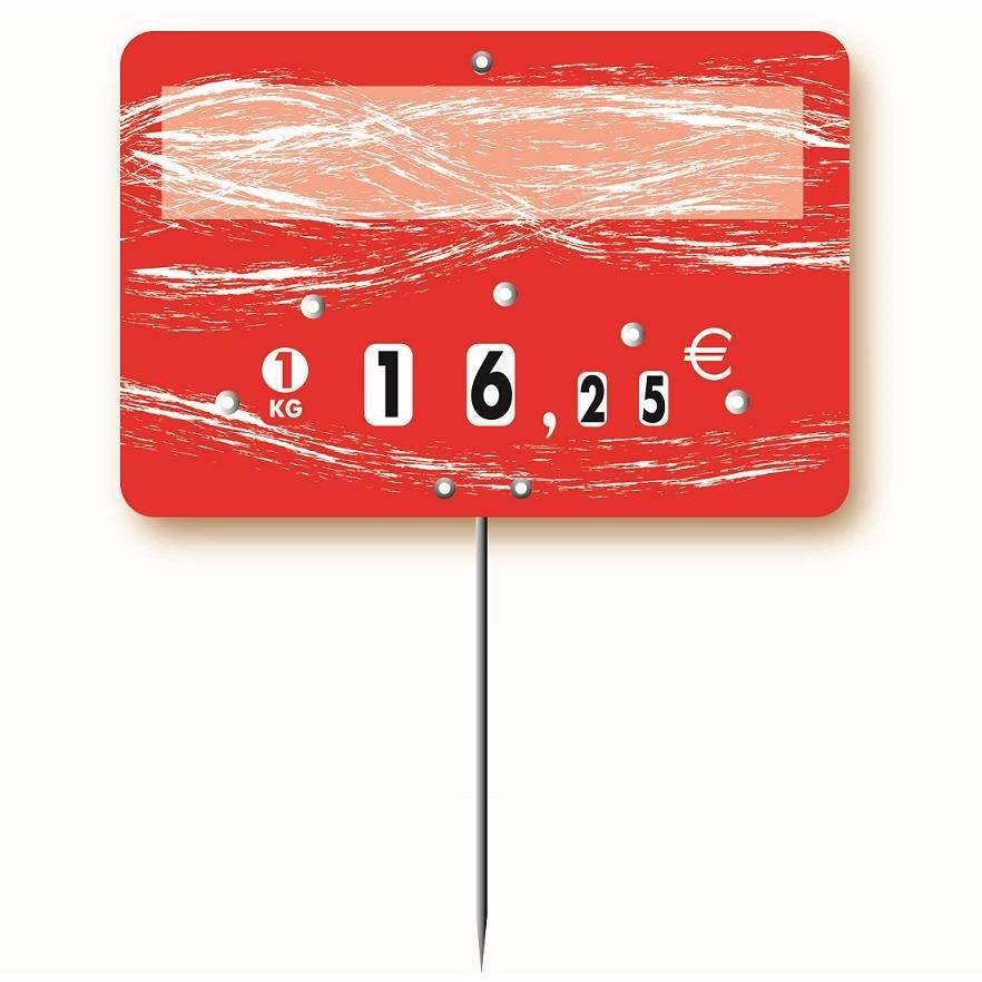 Etiquette à roulettes pique-inox option disc-info 'TURBULENCE' 12x8cm par 10