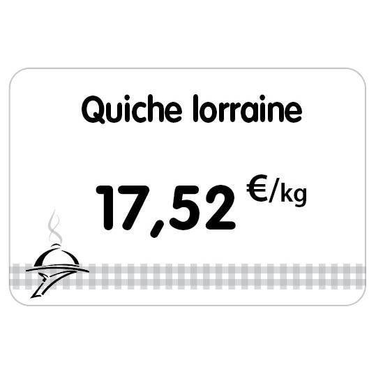 Etiquette pique-inox 'TOUT COMPRIX' charcuterie-traiteur blanc 10,5x7cm par 10