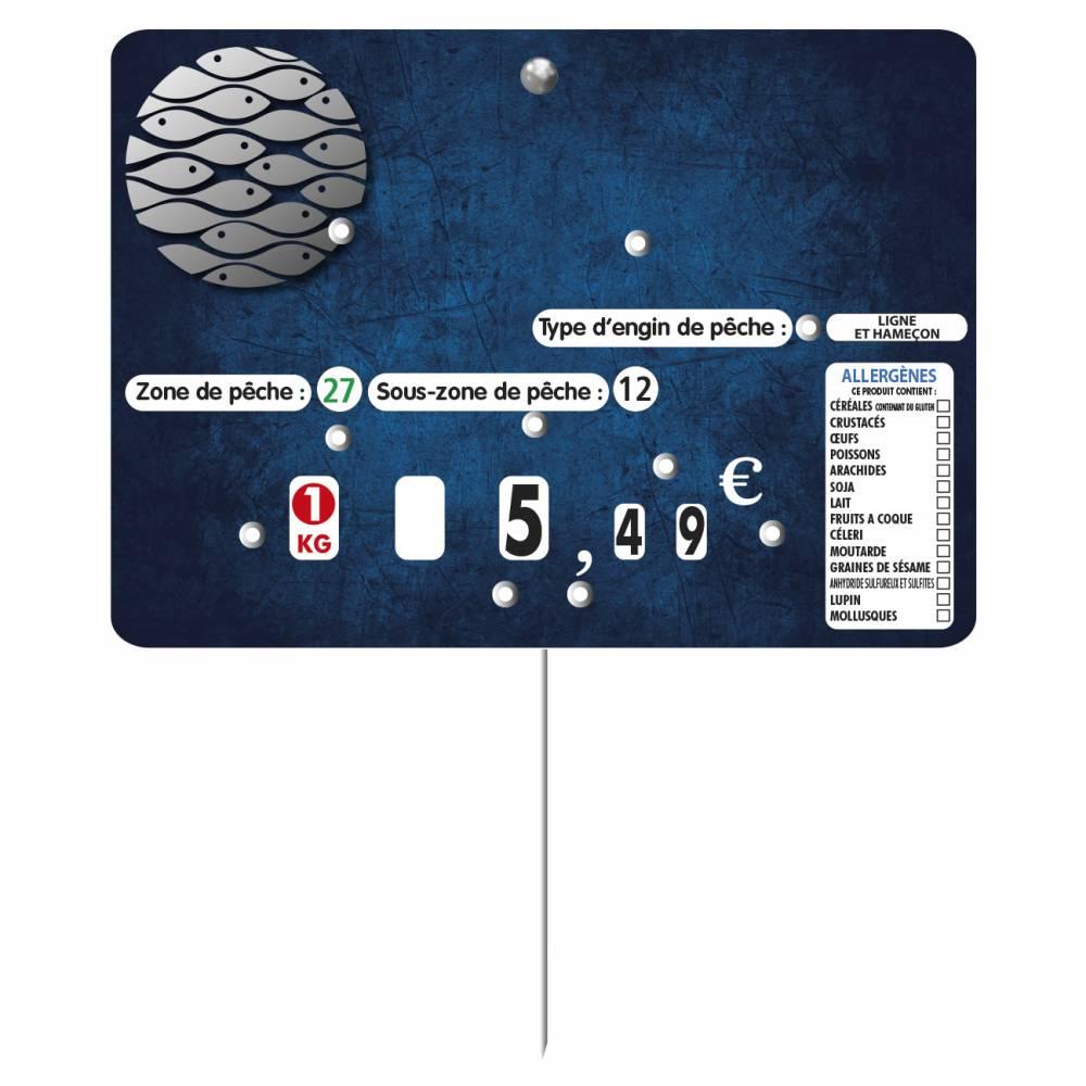 Etiquette à 8 roulettes pique-inox option disc-info 'MARINA'  14x10cm par 10