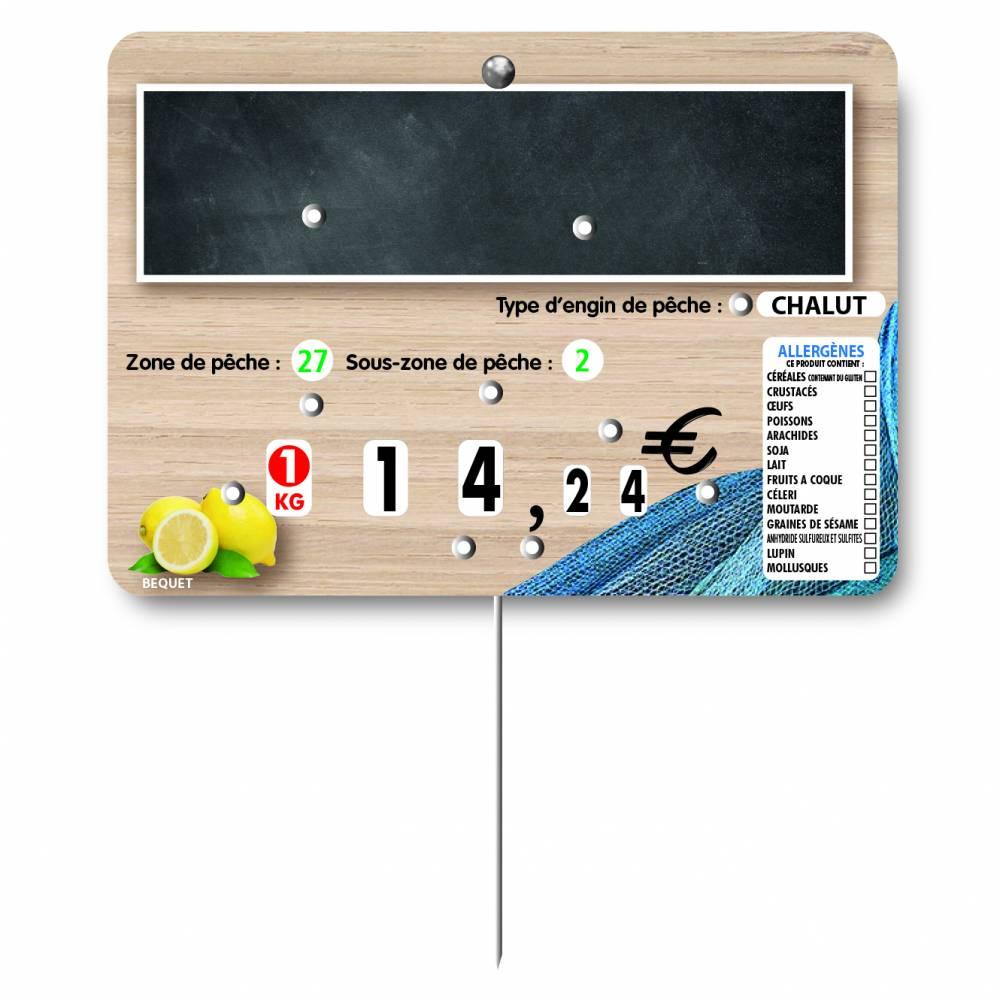 Etiquette à 8 roulettes pique-inox option disc-info 'OCEANE' 14x10cm par 10