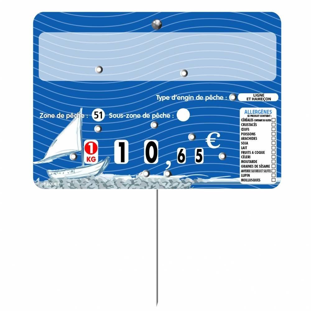 Etiquette à 8 roulettes pique-inox option disc-info 'NEPTUNE' 14x10cm par 10