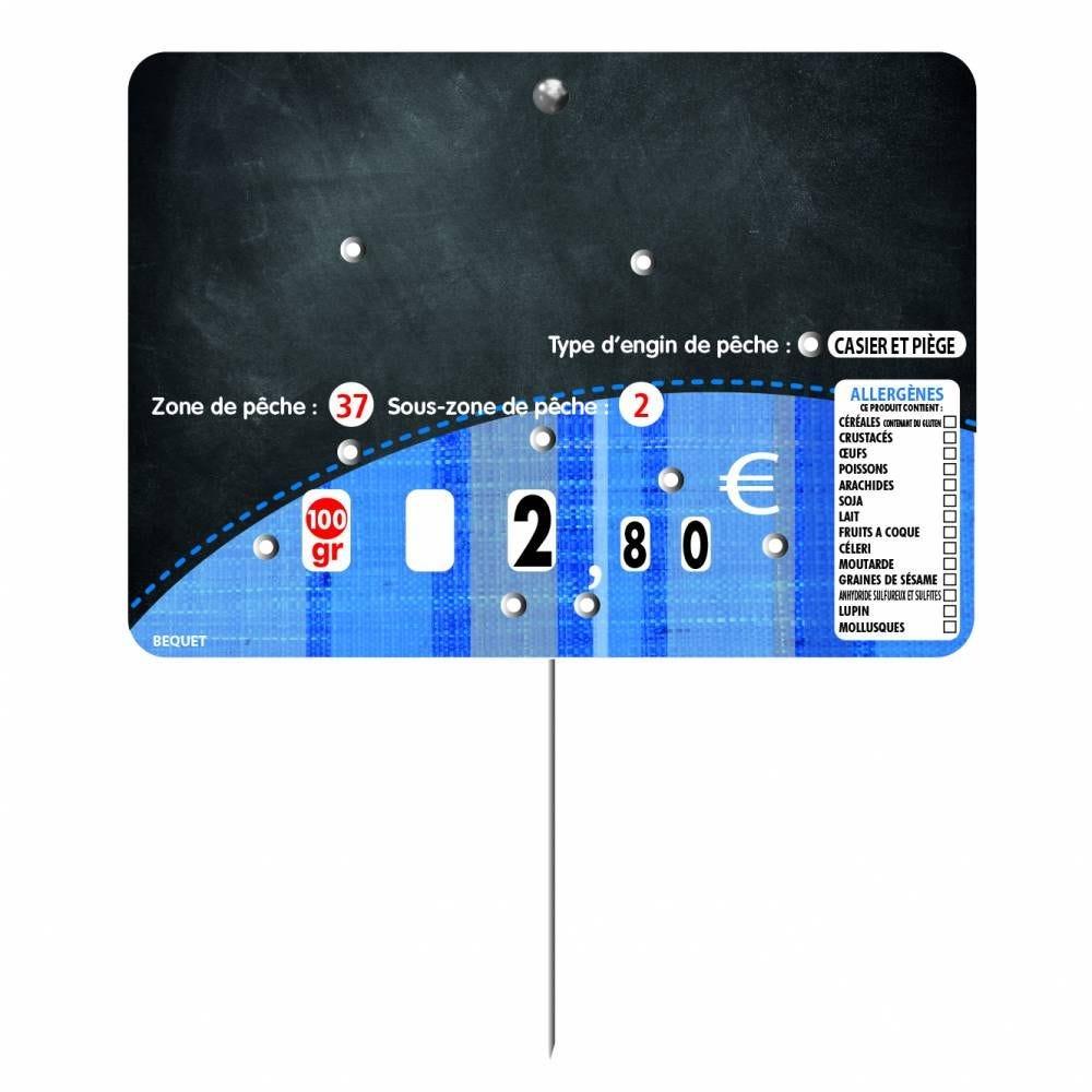 Etiquette à 8 roulettes pique-inox option disc-info 'TONIO' 14x10cm par 10