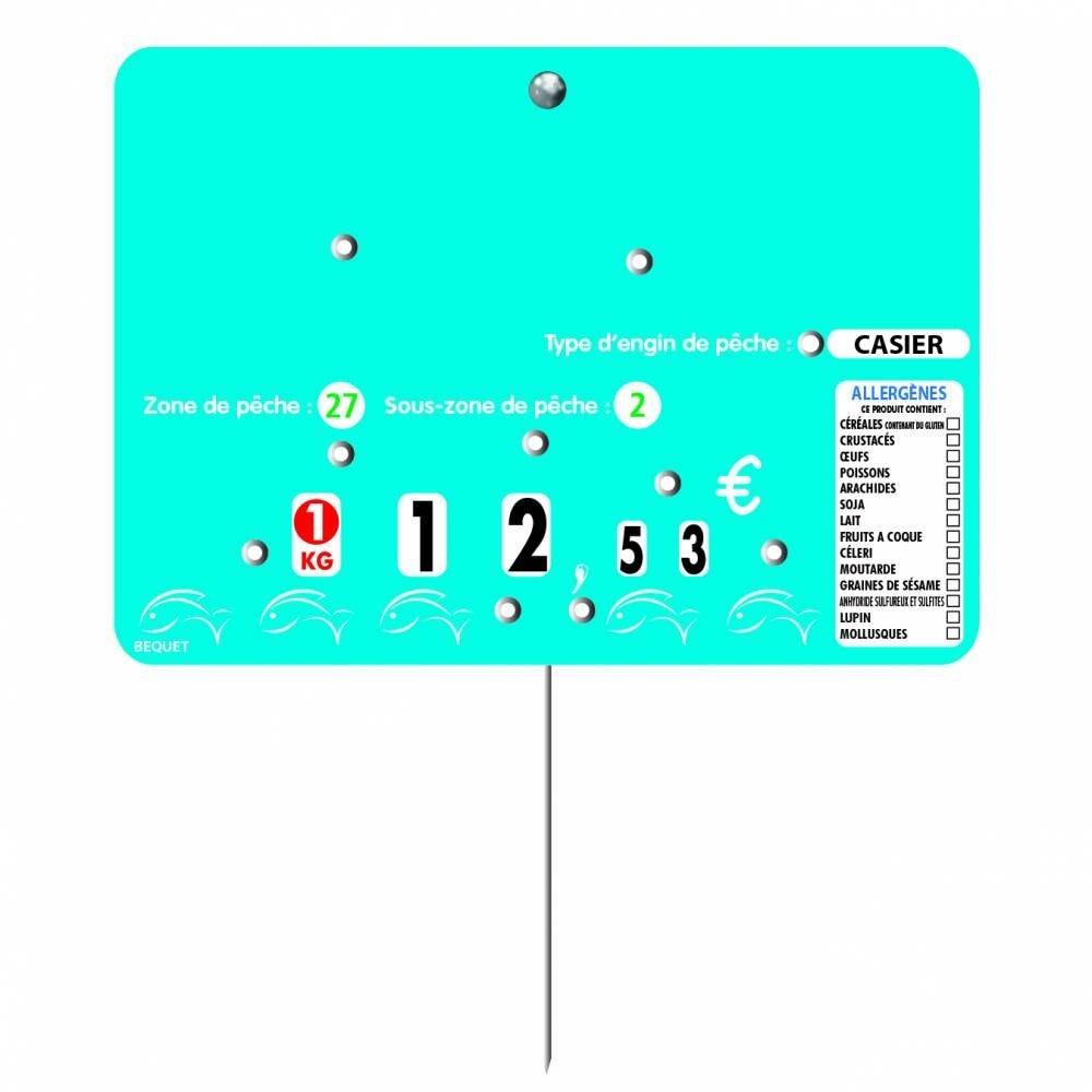 Etiquette 8 roulettes pique-inox option disc-info 'BLUE FISH' 14x10cm par 10