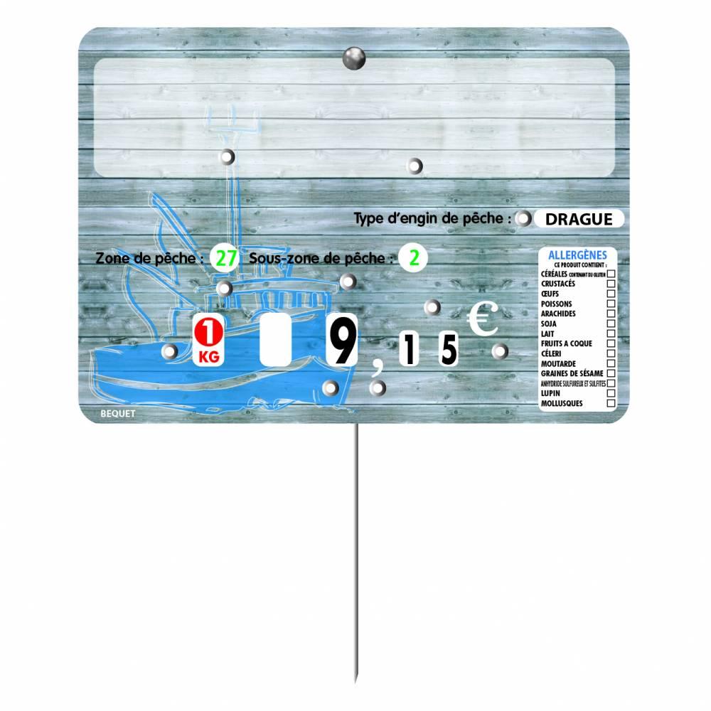 Etiquette 8 roulettes pique-inox option disc-info 'TRIBORD' gris 14x10cm par 10
