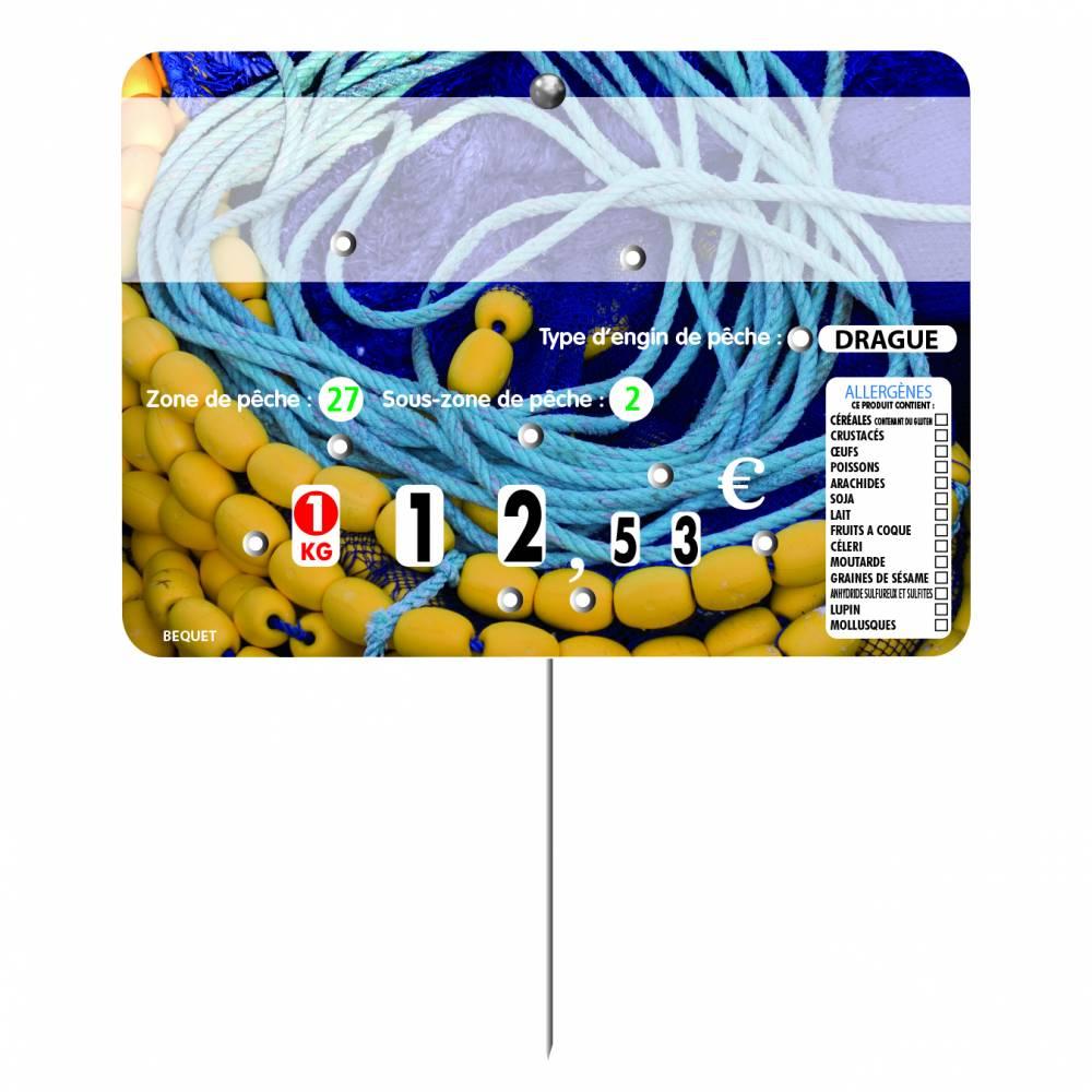 Etiquette 8 roulettes pique-inox option disc-info 'CORDAGE'  14x10cm par 10