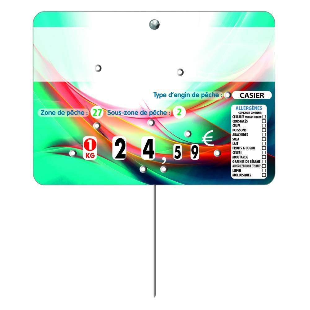 Etiquette 8 roulettes pique-inox option disc-info 'LAGON'  14x10cm par 10
