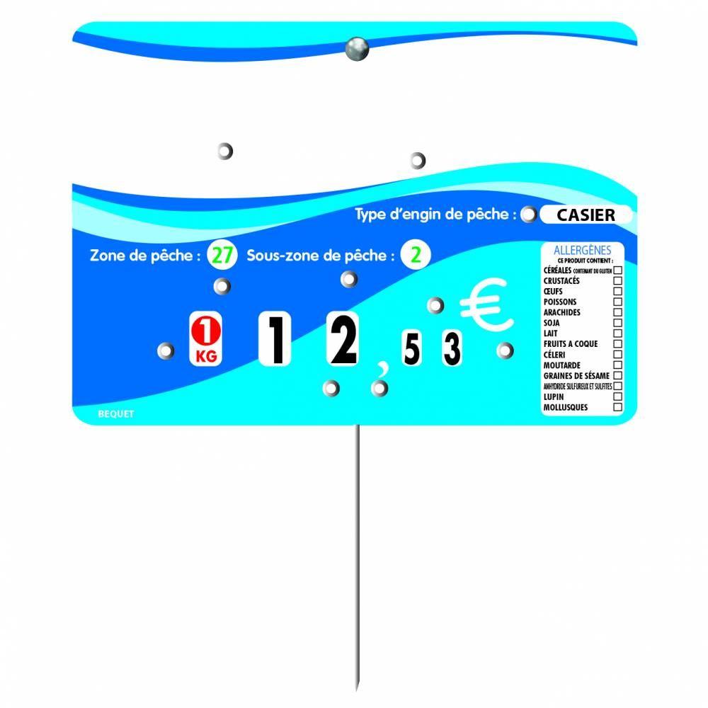 Etiquette 8 roulettes pique-inox option disc-info 'EVASION' bleu 14x10cm par 10