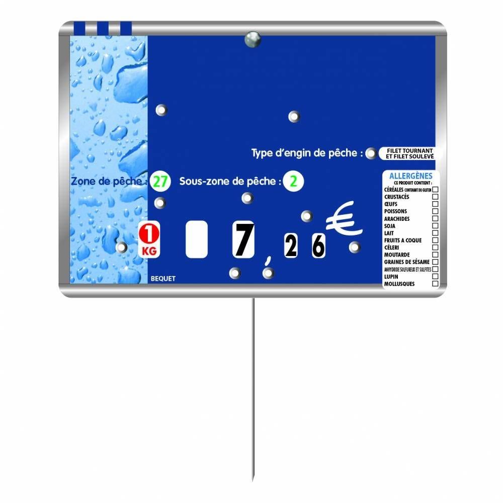Etiquette 8 roulettes pique-inox option disc-info METALLIC bleu 14x10cm par 10