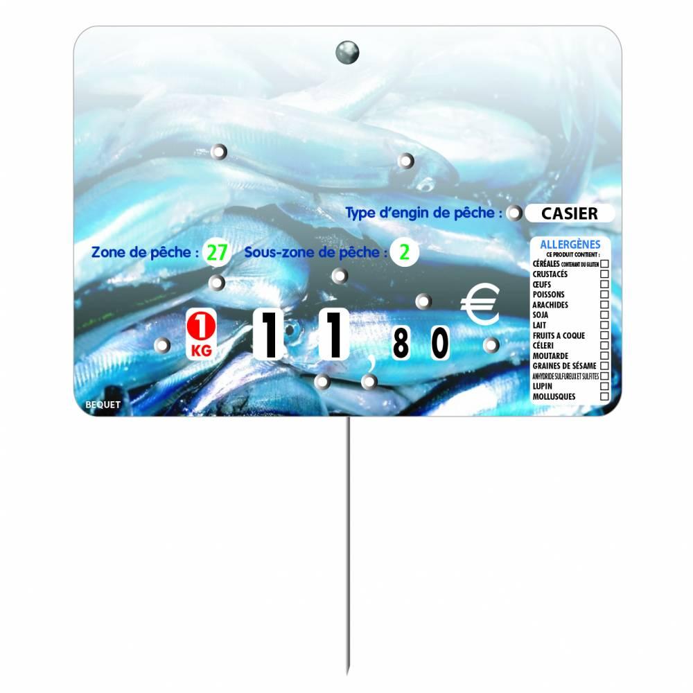 Etiquette 8 roulettes pique-inox option disc-info 'SAVEUR' 14x10cm par 10