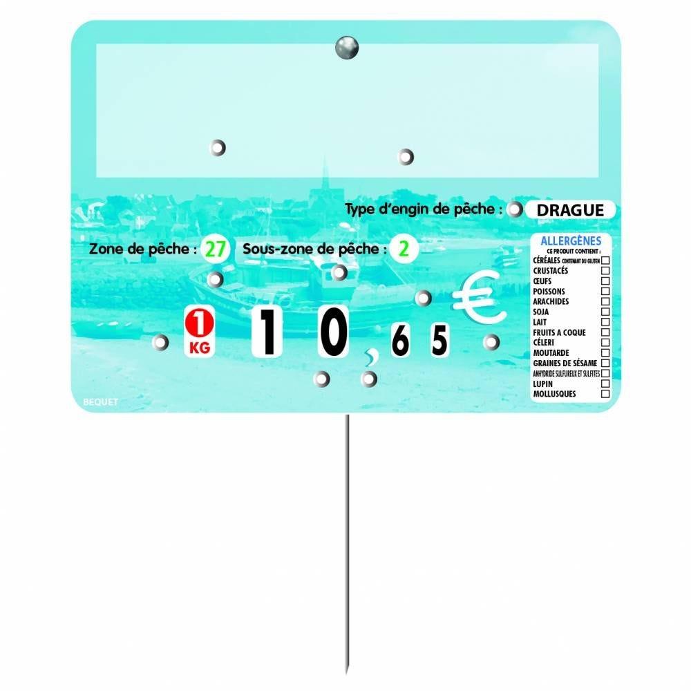 Etiquette 8 roulettes pique-inox option disc-info PASTEL bleu 14x10cm par 10