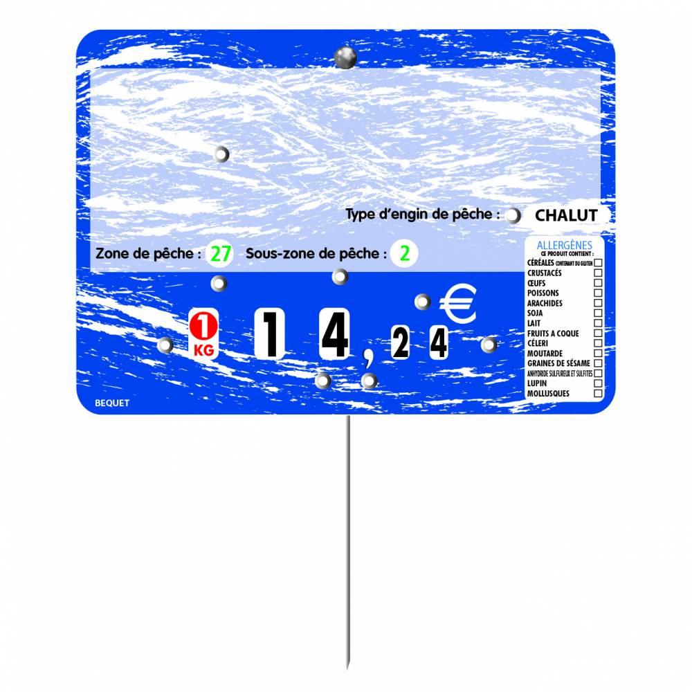 Etiquette 8 roulettes pique-inox option disc-info TURBULENCE bleu 14x10cm par 10