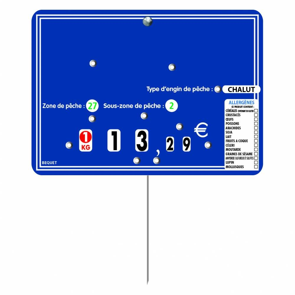 Etiquette 8 roulettes pique-inox avec roulettes 'ARDOISINE' bleu 14x10cm par 10