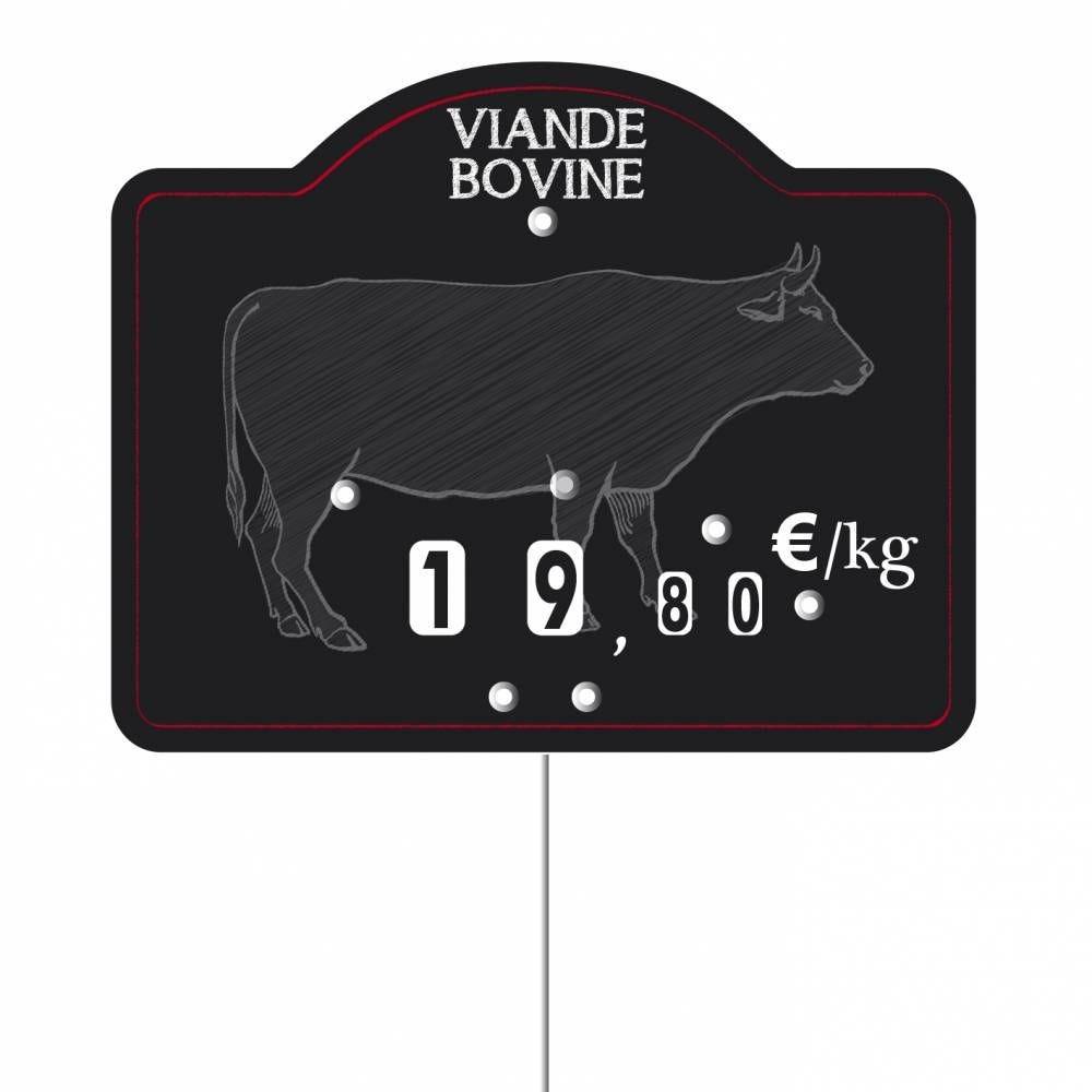 Etiquette à roulettes pique-inox 'MAESTRO' viande bovine noir 12x9,5cm par 10