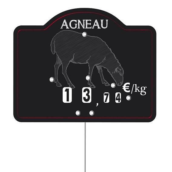 Etiquette à roulettes pique-inox 'MAESTRO' agneau noir 12x9,5cm par 10