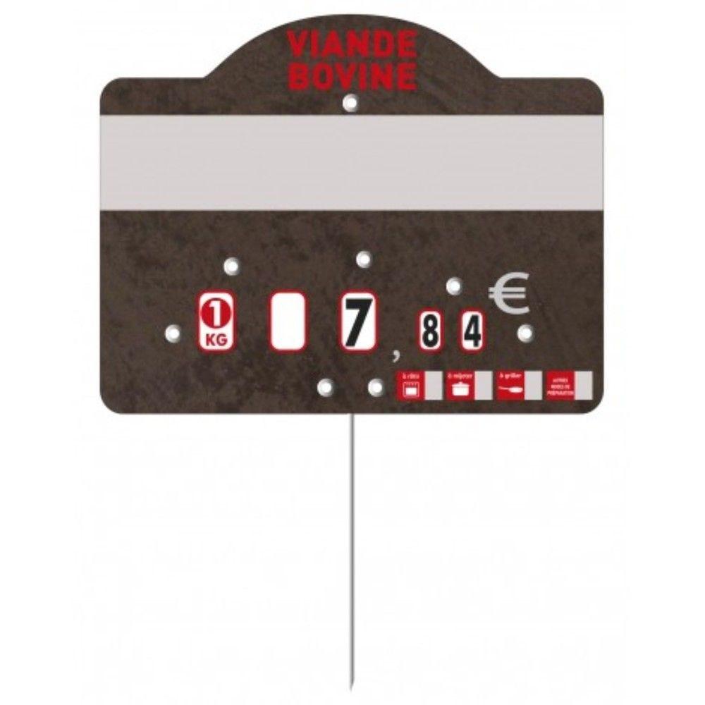 Etiquette à roulettes pique-inox 'TEMPO' viande bovine noir 12x9,5cm par 10