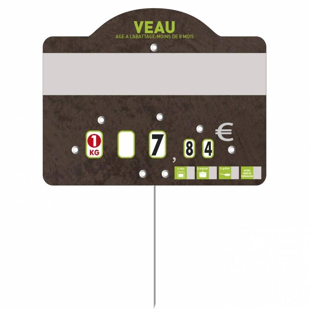 Etiquette à roulettes pique-inox 'TEMPO' veau noir 12x9,5cm par 10