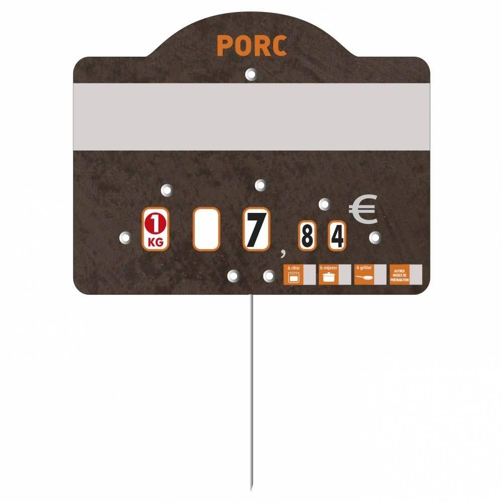 Etiquette à roulettes pique-inox 'TEMPO' porc noir 12x9,5cm par 10