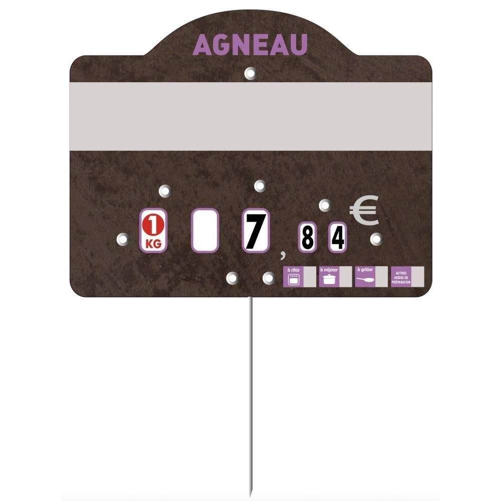 Etiquette à roulettes pique-inox 'TEMPO' agneau noir 12x9,5cm par 10
