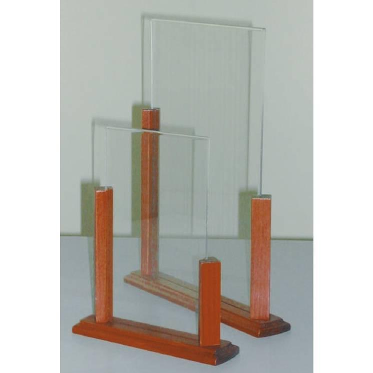 Présentoir de table support bois 'ALTO' Transparent 15x22cm par 3