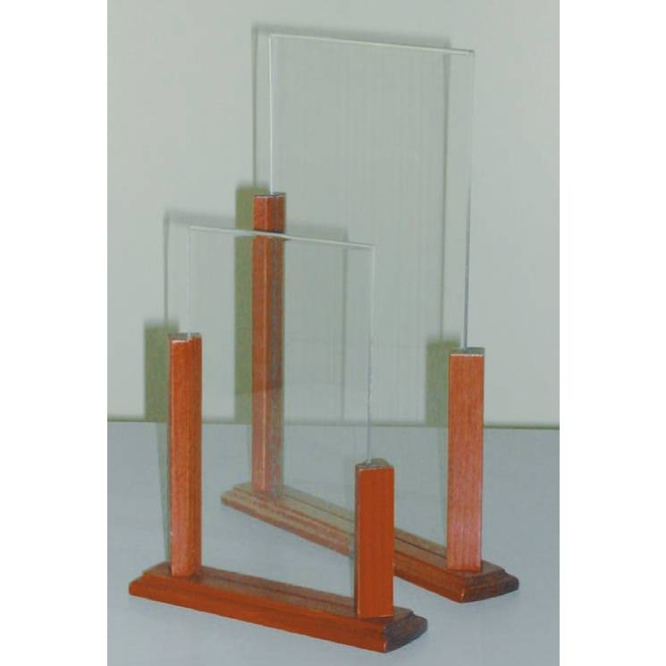 Présentoir de table support bois 'ALTO' Transparent 21x30cm par 3