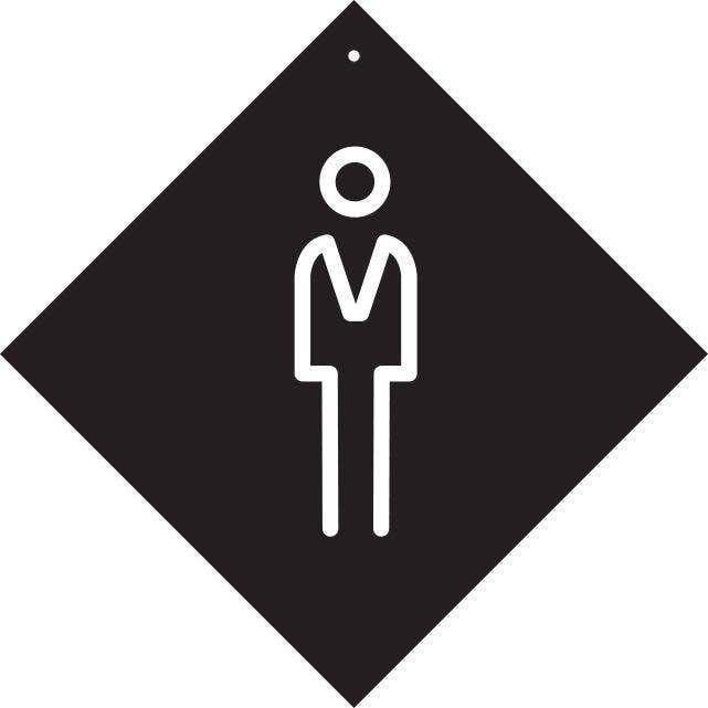 Pancarte avec ventouse à crochet  Homme noir 16x16cm à l'unité