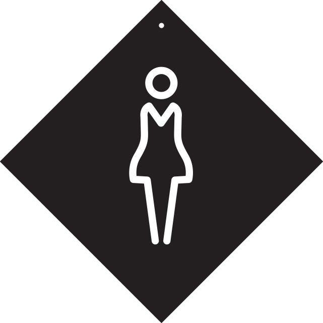 Pancarte avec ventouse à crochet Femme noir 16x16cm à l'unité