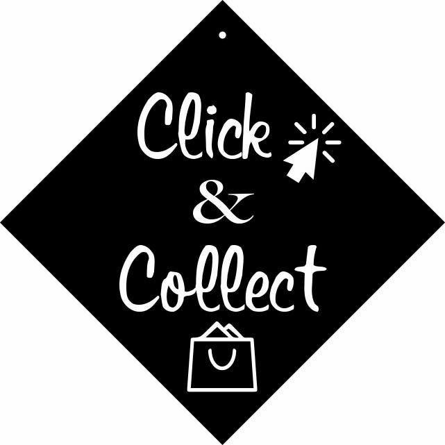 Pancarte avec ventouse à crochet  Click et collect noir 16x16cm à l'unité