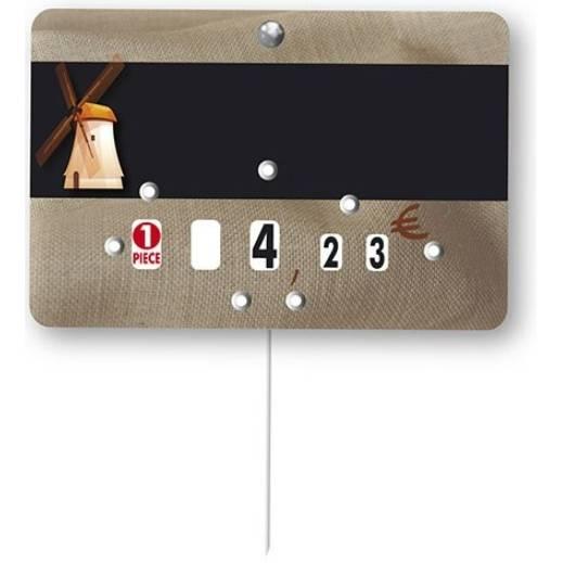 Etiquette à roulettes à pique-inox 'MOULIN' beige 10,5x7cm par 10