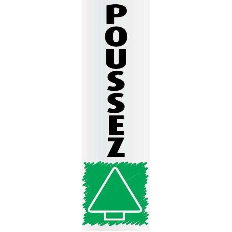 Plaque adhésive 'IMITATION ALU' Poussez, impression verticale 17x5cm à l'unité