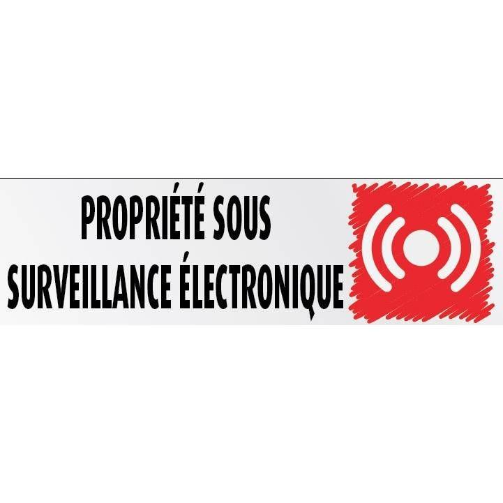 Plaque adhésive 'IMITATION ALU' Propriété sous surveillance … 17x5cm à l'unité