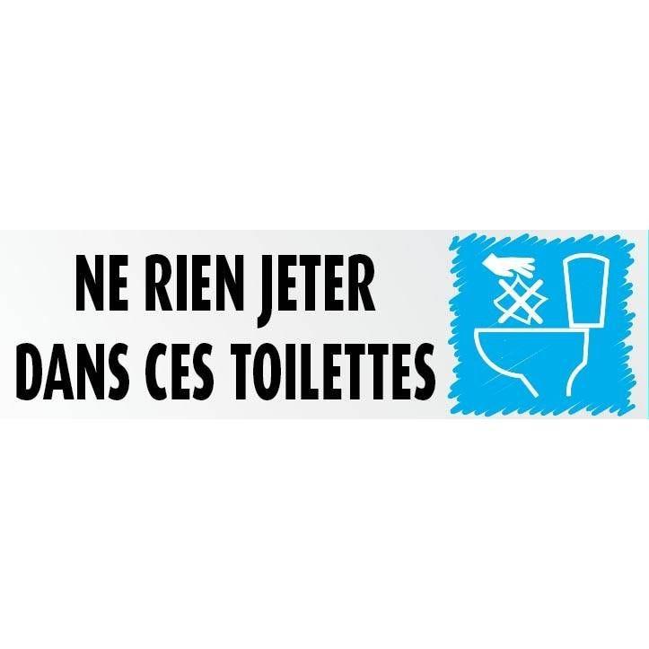 Plaque adhésive IMITATION ALU Ne rien jeter dans les toilettes 17x5cm à l'unité