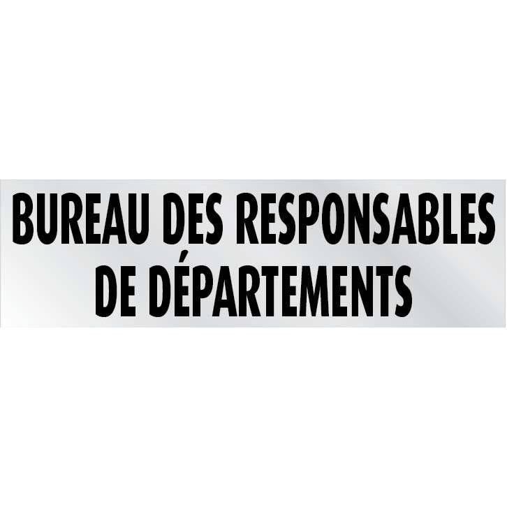 Plaque adhésive 'IMITATION ALU' Responsable de Département gris 17x5cm à l'unité