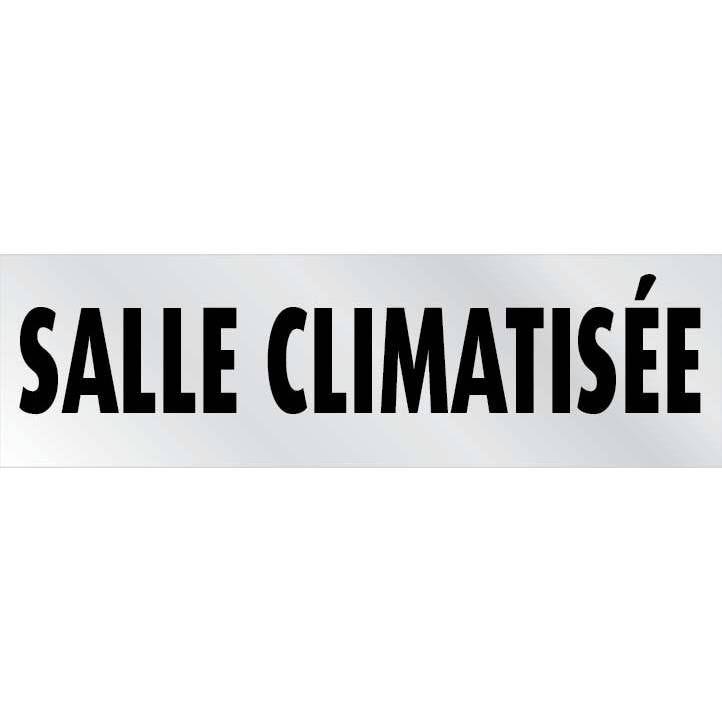 Plaque adhésive alu  'IMITATION ALU' Salle climatisée gris 17x5cm à l'unité