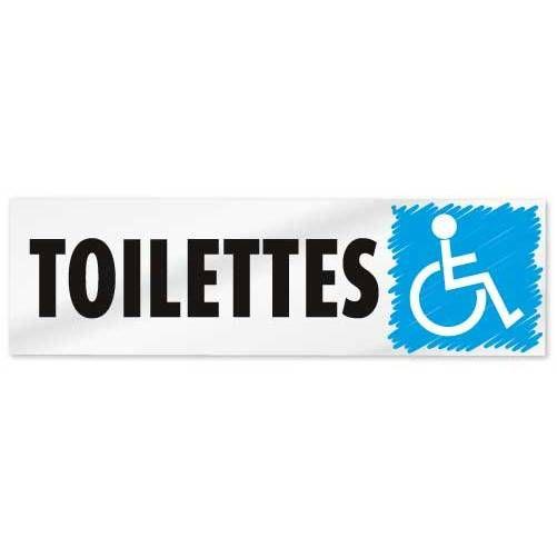 Plaque adhésive alu  'IMITATION ALU' Toilettes handicapés gris 17x5cm à l'unité