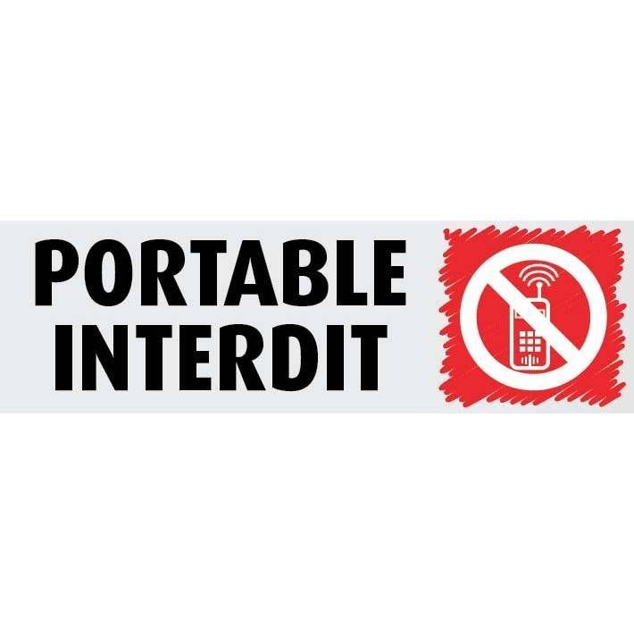 Plaque adhésive alu  'IMITATION ALU' Portable interdit gris 17x5cm à l'unité