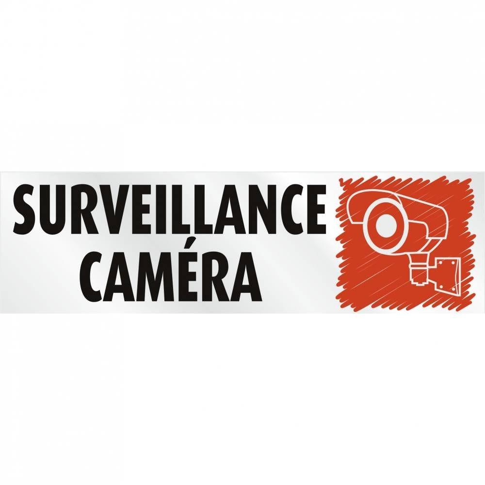 Plaque adhésive alu 'IMITATION ALU' Surveillance caméra gris 17x5cm à l'unité