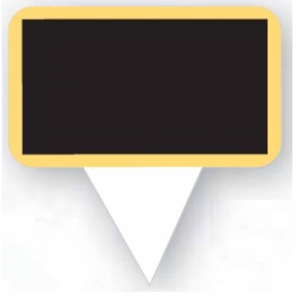 Etiquette ardoisée avec pique plastique intégré 'ECOLIERE' noir 3x5,5cm par 100