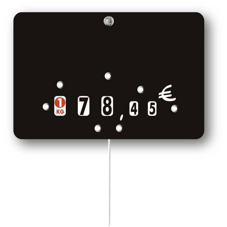 Etiquette à roulettes pique-inox 'NEUTRE' noir 12x8cm par 10