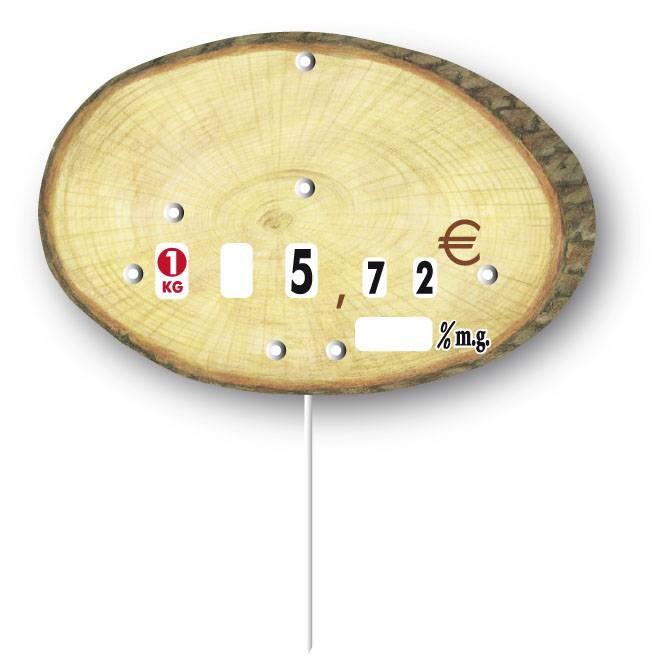 Etiquette à roulettes pique-inox 'RONDIN' bois 12x8cm par 10