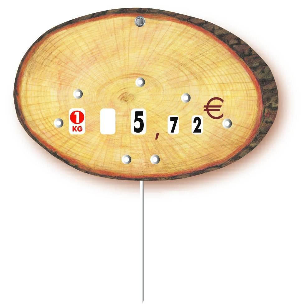 Etiquette à roulettes pique-inox 'RONDIN' bois 14,5x9,5cm par 10