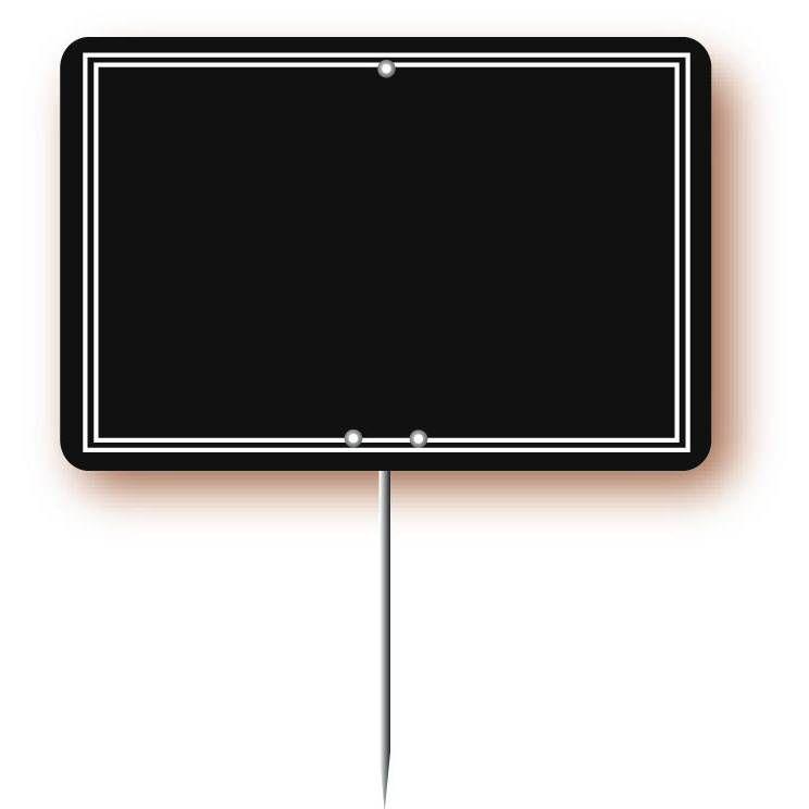 Etiquette simple pique-inox 'ARDOISINE' noire noir 10,5x7cm par 10