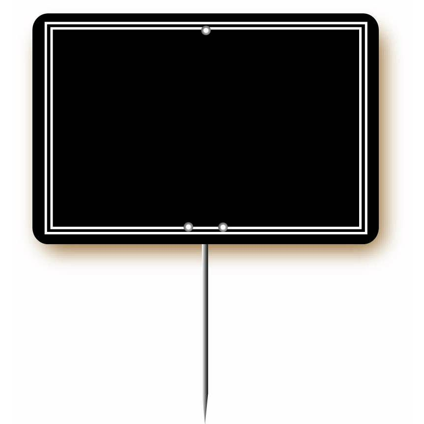 Etiquette simple pique-inox 'ARDOISINE' noire noir 12x8cm par 10