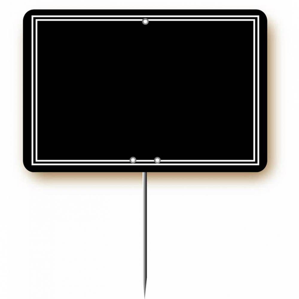 Etiquette simple pique-inox 'ARDOISINE' noire noir 20x15cm par 10