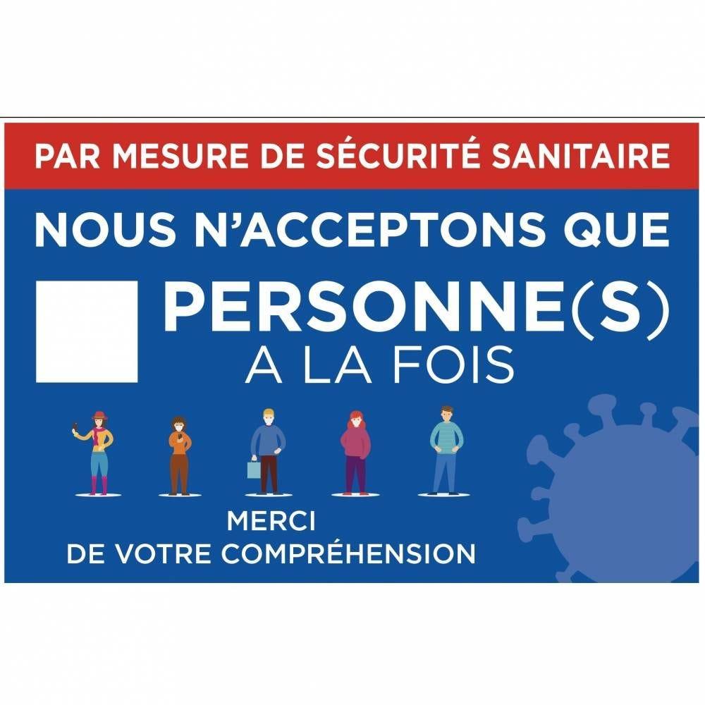 Pancarte 30x20cm Mesure sécurité nbre personnes à la fois + adhésifs