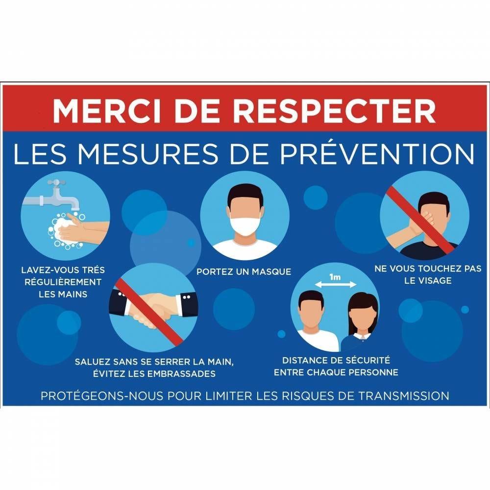 Pancarte 30x20cm Merci de respecter les mesures de prévention
