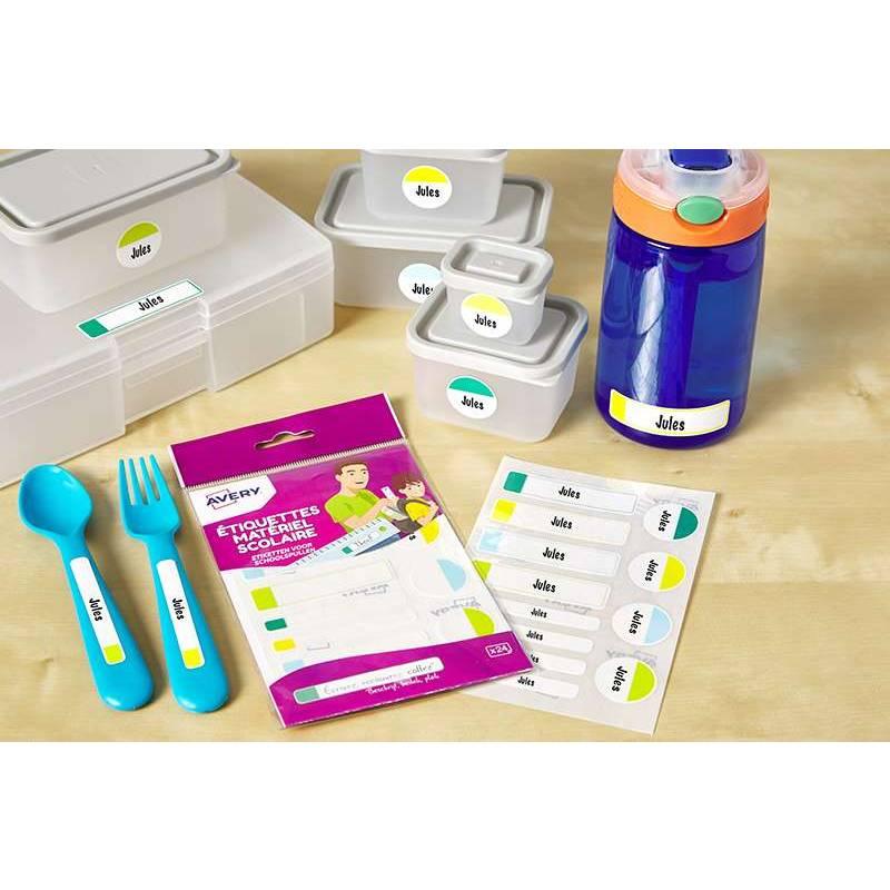 24 étiquettes autocollantes matériel scolaire plastifiées multicolores - Avery (photo)