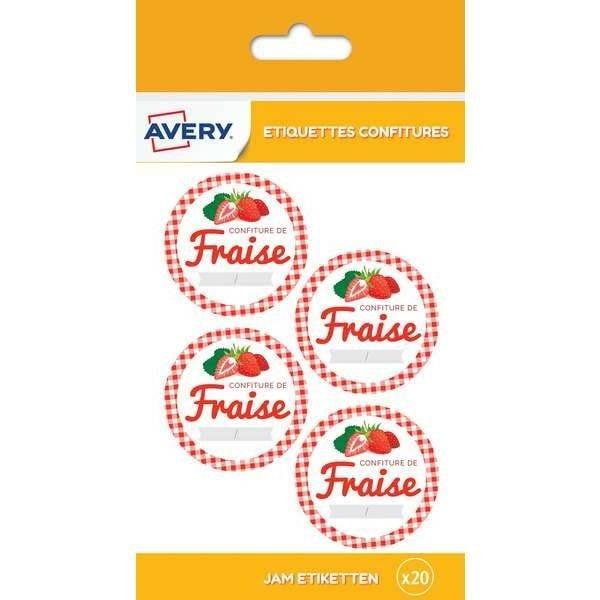 20 étiquettes autocollantes pour pot de confiture de fraise - Avery (photo)