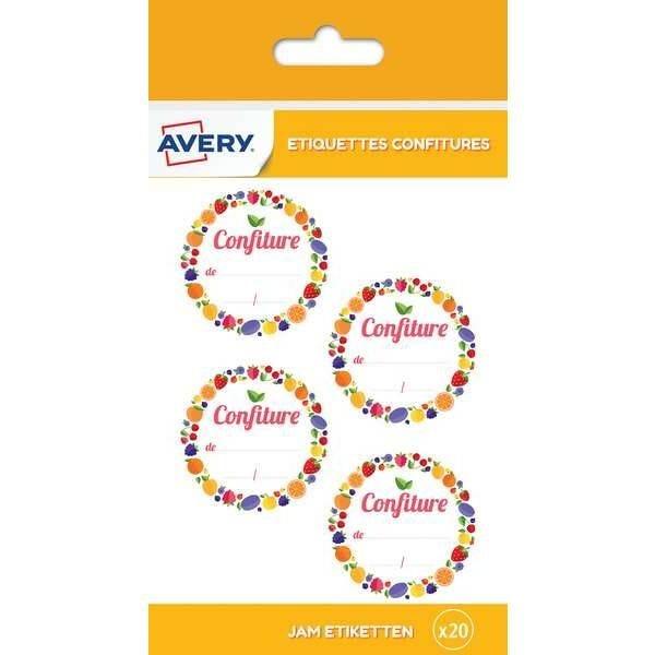 20 étiquettes autocollantes pour pot de confiture - Avery (photo)