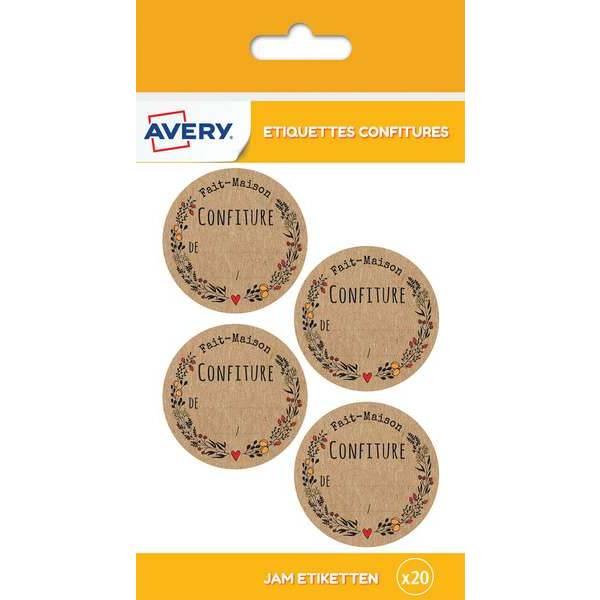 20 étiquettes autocollantes pour pot de confiture - fait maison - Avery (photo)
